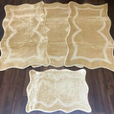 ROMANY WASHABLE TRAVELLERS MATS 4PC SETS NON SLIP NEW SIZE LIGHT BEIGE RUGS